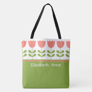 Pink and Green Tulips Personalized Diaper Tote Bag