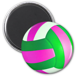 Pink and Green Volleyball Magnet