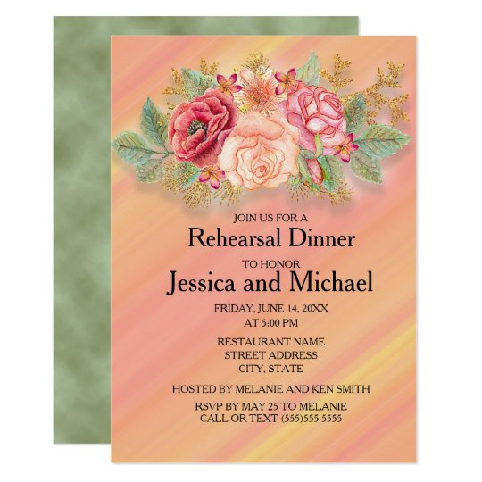 Pink and Green Watercolor Floral Wedding Rehearsal Card