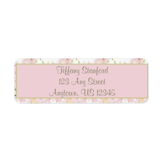 Pink and Green Watercolor Flowers | Personalized Return Address Label