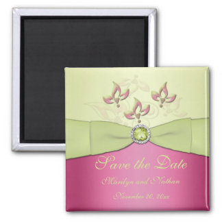 Pink and Green Wedding Favor Magnet