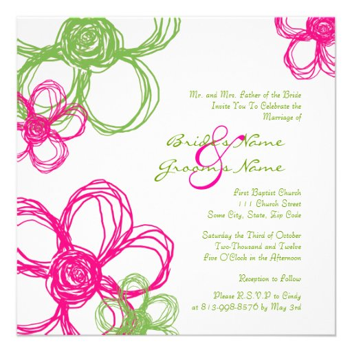 Pink and Green Wild Flowers Wedding Invitation