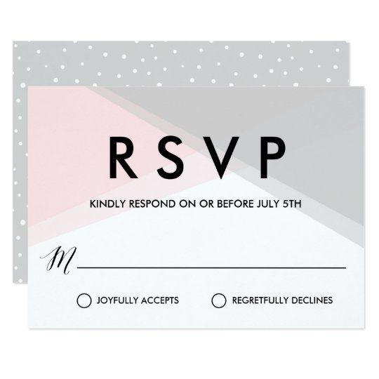 Pink and Grey Abstract Gradient Modern RSVP Card