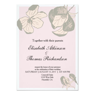 Pink and Grey Apple Blossom Wedding Invitation