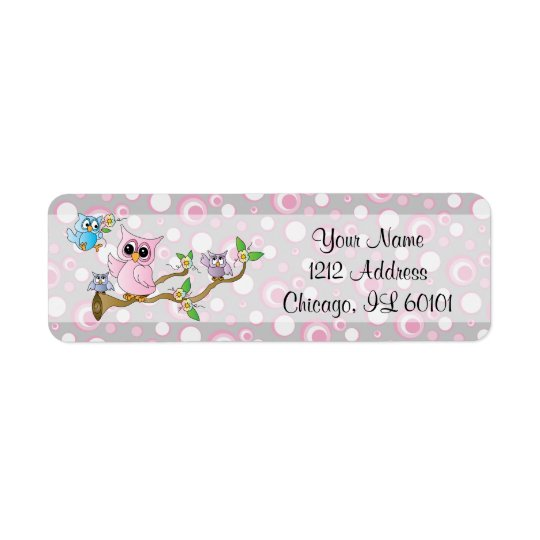 Pink and Grey Baby Owl   Shower Theme Return Address Label