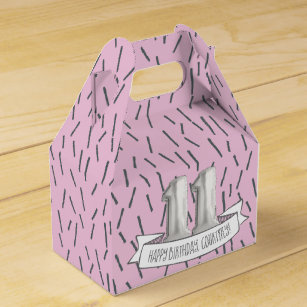 Pink And Grey Balloon Girls 11th Birthday Party Favor Box