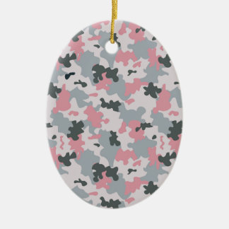 Pink and Grey Camouflage Ceramic Oval Ornament