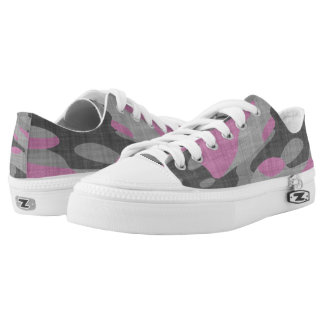 Pink and Grey Camouflage Low-Top Sneakers