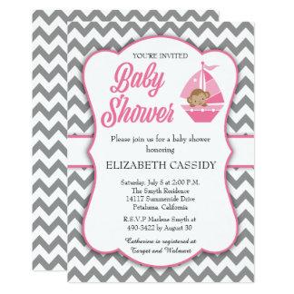 Pink and grey chevron, Girl Baby Shower Invitation