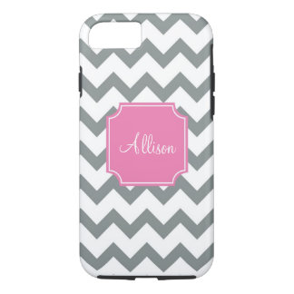 Pink and Grey Chevron iPhone 7 Case