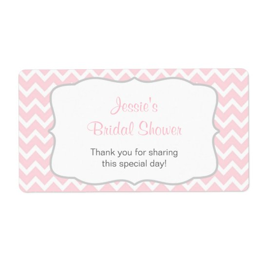 Pink and Grey Chevron Water Bottle Label Shipping Label