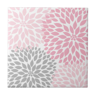 Pink and grey dahlia accent art tile