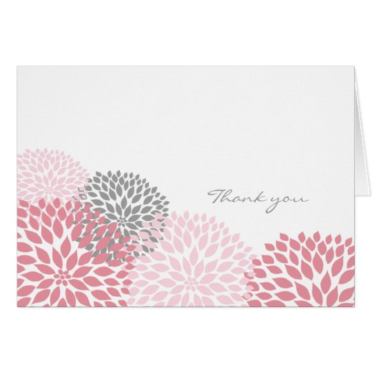 Pink and Grey Dahlia Blossom Thank you notes
