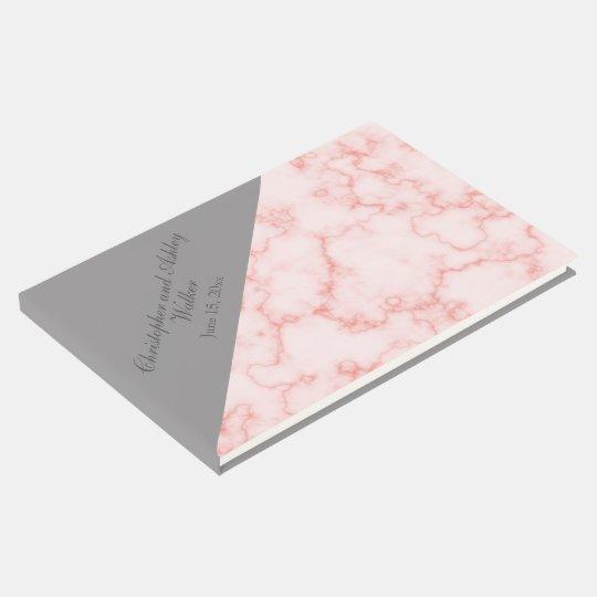 Pink and Grey Diagonal Marble Wedding Guestbook