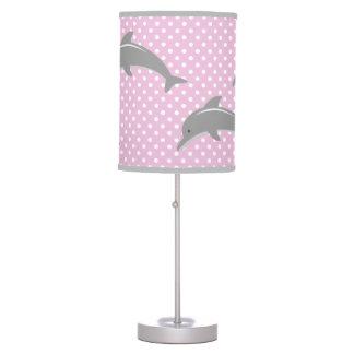 Pink and grey dolphin polka dots nursery lamp