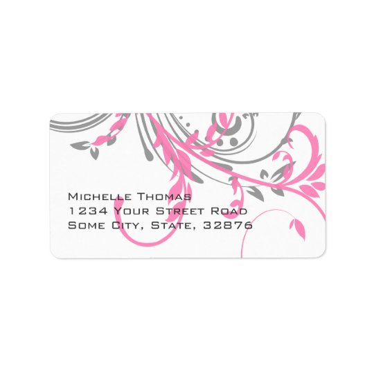 Pink and Grey Double Floral Return Address Label