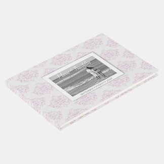 Pink and Grey elegant Damask Photo Guest Book