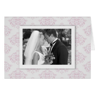 Pink and Grey elegant Damask Photo Thank you Card