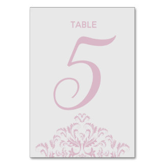 Pink and Grey elegant Damask Table Card