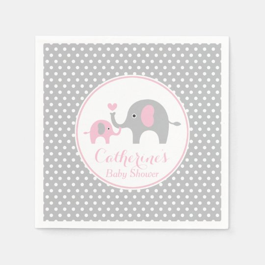Pink and Grey Elephant Baby Shower Paper Napkin