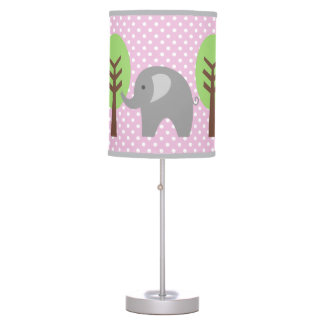 Pink and grey elephant polka dots nursery lamp