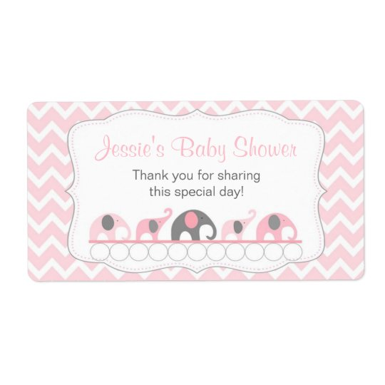 Pink and Grey Elephants Water Bottle Favour Label Shipping Label