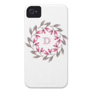 Pink and grey floral wreath design initial D iPhone 4 Case-Mate Cases