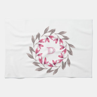 Pink and grey floral wreath design initial D Kitchen Towel