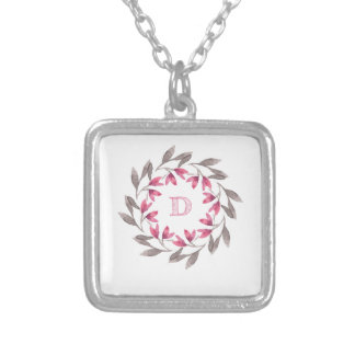 Pink and grey floral wreath design initial D Silver Plated Necklace