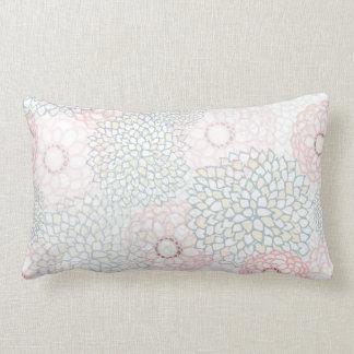 Pink and Grey Flower Burst Design Lumbar Pillow