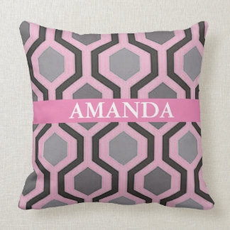 PINK AND GREY GEOMETRIC THROW PILLOW