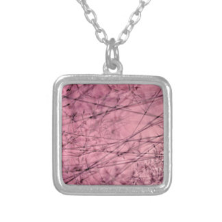 Pink and Grey Grass Plantscape Silver Plated Necklace