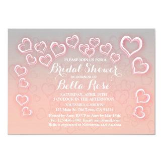 Pink and grey heart bridal shower invites hrt1