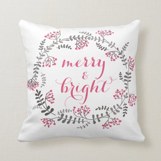Pink and Grey Holly Wreath Holiday Pillow