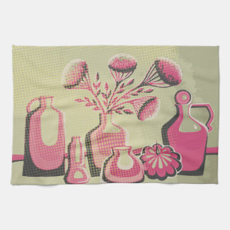 Pink and grey home kitchen themed design for cafe kitchen towel