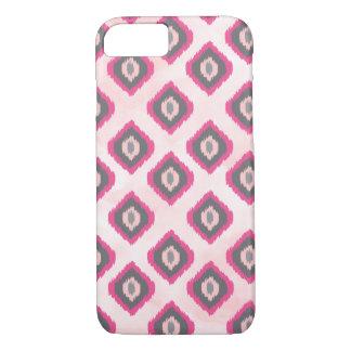 Pink and Grey Ikat Diamonds iPhone 8/7 Case