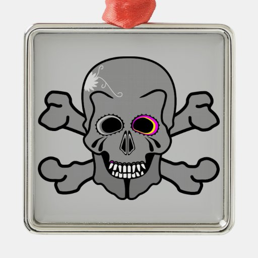 Pink and grey jolly roger ornaments