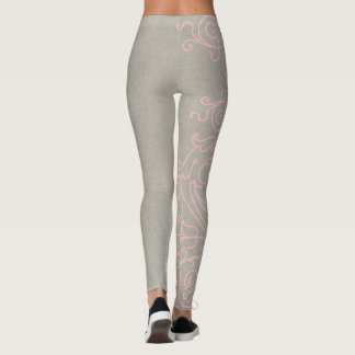 Pink and Grey Large Damask Leggings