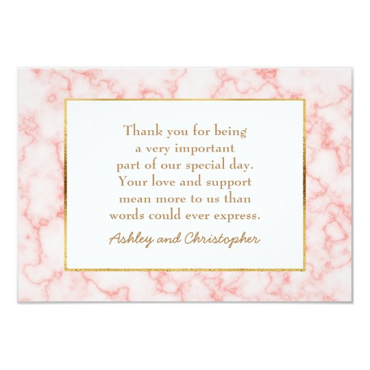 Pink and Grey Marble Photo Wedding Thank You Card