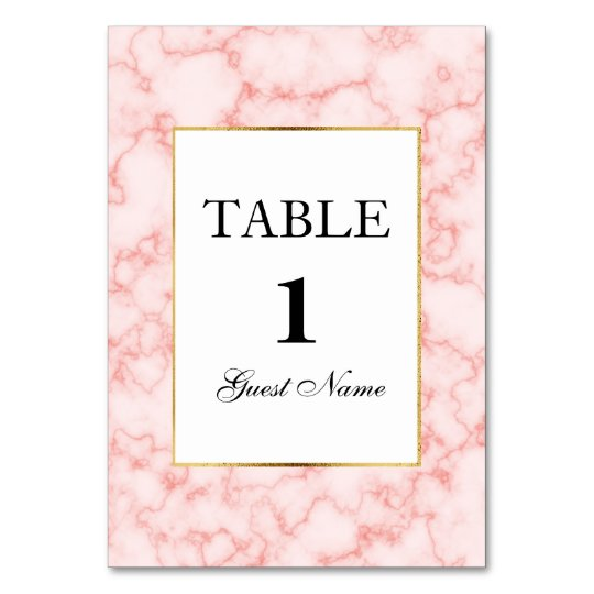 Pink and Grey Marble Reception Place Card