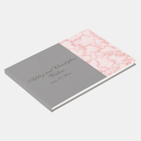 Pink and Grey Marble Wedding Guestbook