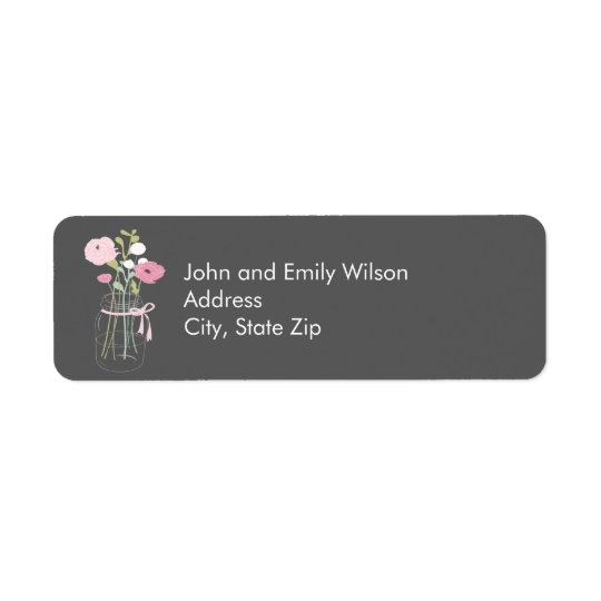 Pink and Grey Mason Jar Return Address Labels
