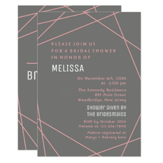 Pink And Grey Modern Bridal Shower Card