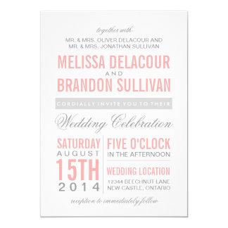 Pink and Grey Modern Typography Wedding Invitation