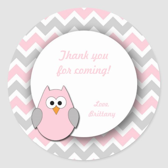 Pink and Grey Owl Baby Shower Favour Stickers