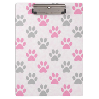 Pink and grey paw prints pattern clipboard
