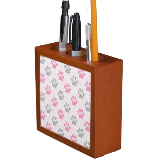 Pink and grey paw prints pattern desk organizer