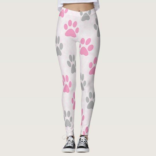Pink and grey paw prints pattern leggings