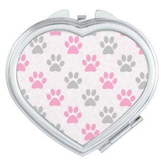 Pink and grey paw prints pattern vanity mirror