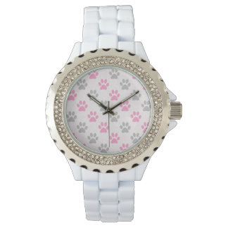 Pink and grey paw prints pattern watch